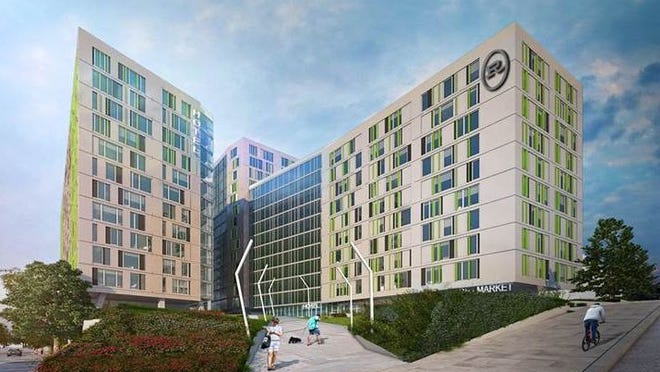 CA Ventures, a three-tower design for a hotel, retail and office space and more than 300 residential units for students.
