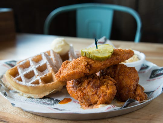Nashville hot chicken tenders and a waffle from Joella's.