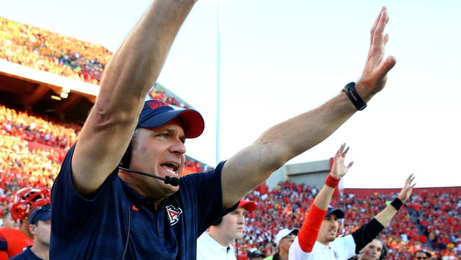 Arizona Wildcats head coach Rich Rodriguez reacts during the game against the Arizona State Sun Devils in Tucson on Nov. 28. The Wildcats defeated the Sun Devils 42-35 to win the Pac-12 South title.