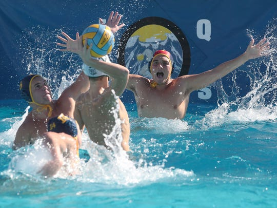 La Quinta keeper Nich Sloan tries to block a Bonita goal attempt during the CIF first round water polo match on Wednesday in La Quinta.