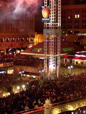 Each year a giant peach is dropped at the Underground Atlanta New Year's Eve celebration.