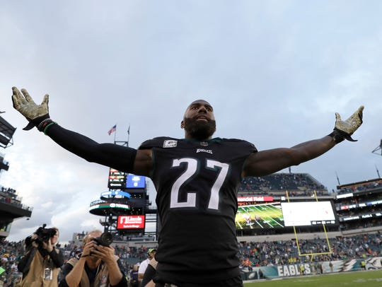 Philadelphia Eagles' Malcolm Jenkins reacts after an