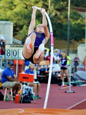Early senior Tuesdi Tidwell competes in the 3A state pole vault competition on Friday in Austin. Tidwell, who earned the silver medal, has already committed to Baylor.