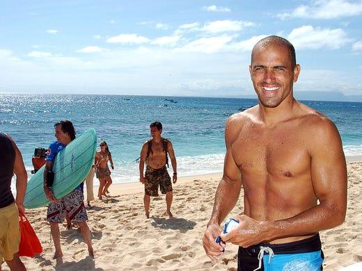 Kelly Slater on the beach in Fiji.
