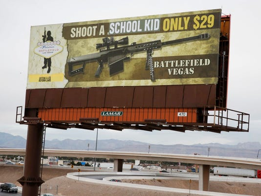 Vegas billboard, gun politics