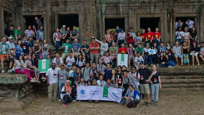 Mollie A. Taylor, an environmental technician with Escambia County's Community and Environment Department, is pictured at the Angkor Archaeological Park in Cambodia while she served as one of 12 Americans to mentor at the Young Southeast Asian Leaders Initiative Generation EARTH Workshop held April 22-26 in Siem Reap, Cambodia. Also pictured are 72 participants from the ASEAN nations.