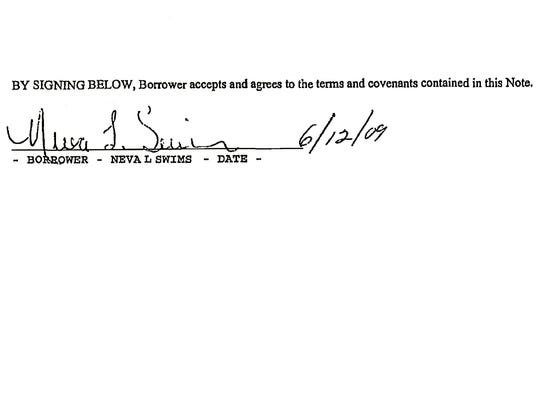 Neva Swims' signature as it appeared on a 2009 mortgage