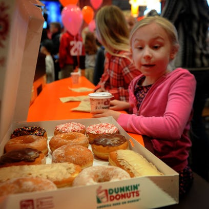 Annelise Koscelnick, of Bell Canyon, looks at the Dunkin'