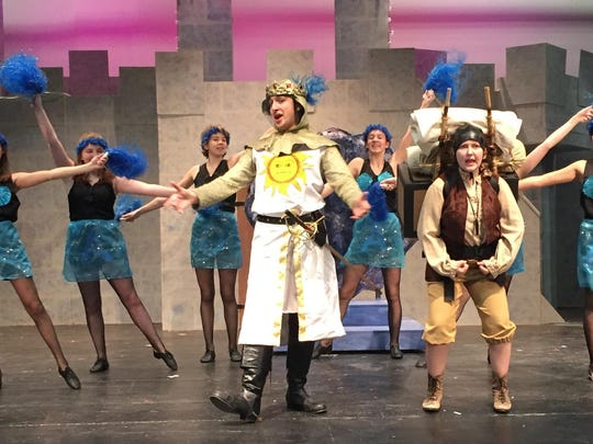 "The Laker Girls cheer King Arthur on in ""Spamalot."""