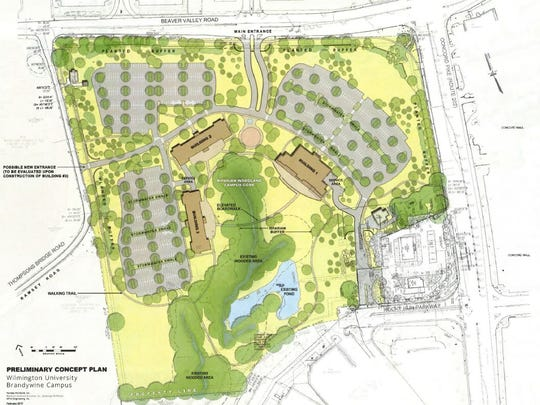 The plan for Wilmington University situates three buildings around a wooded area off Concord Pike.