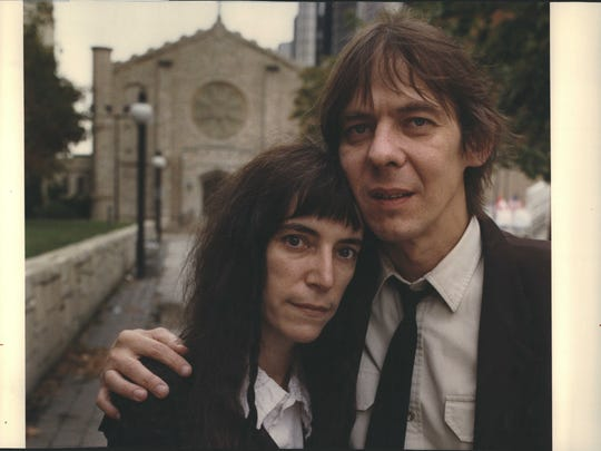 """Musician Patti Smith and her late husband, Fred """"Sonic"""" Smith, at Mariners' Church in Detroit."""