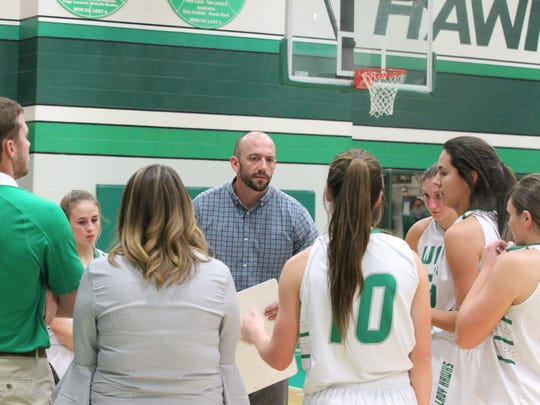 Wall High School head coach Tate Lombard goes over things with the Lady Hawks during a nondistrict showdown against Class 4A power Abilene Wylie at the Wall gym on Friday, Dec. 15, 2017. The Lady Hawks won 52-38.