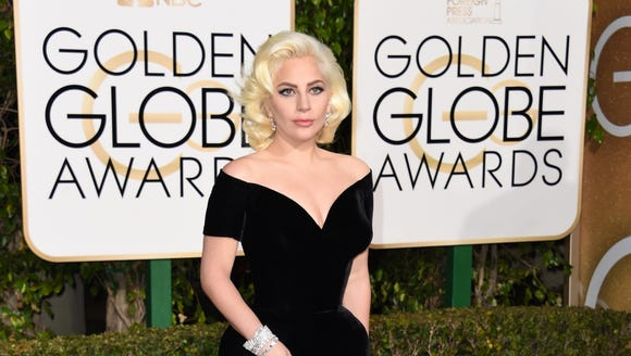 Lady Gaga arrives for the Golden Globe Awards on Jan.