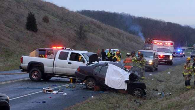 The scene of  a fatal head-on collision between a pickup truck and small sedan on Va. 262 between Churchville Ave and Shutterlee Mill Road Friday, Jan. 8, 2016. A person died at the scene in the small sedan and the driver of the pickup truck was taken to Augsuat Medical Center.