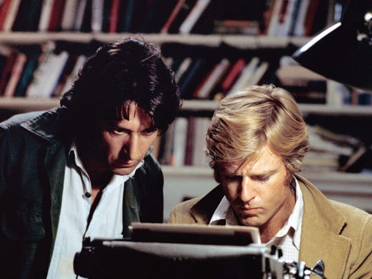 Dustin Hoffman (left) and Robert Redford are reporters investigating Watergate in the classic 'All the President's Men.'