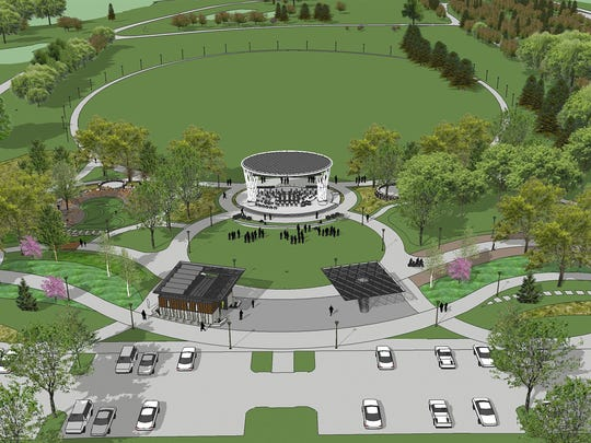 A conceptual design of the dual-stage amphitheater and pavilion planned for Water Works Park.