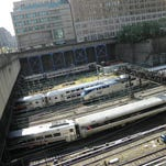 Trains enter and leave New York's Penn Station, which would be the terminal for the proposed Gateway Tunnel.