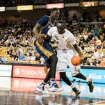 Tacko Fall matches up against Mamadou Ndiaye, both 7-foot-6 centers, during UCF's home opener against UC Irvine Nov. 18, 2015. The Knights lost in overtime, 61-60.