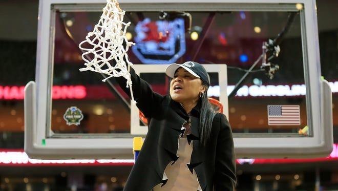 Dawn Staley celebrates South Carolina's national championship victory