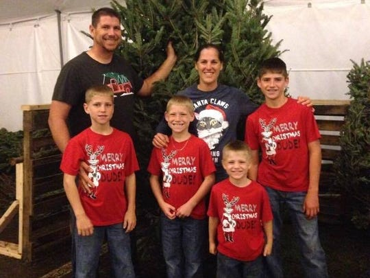 "Golden Gate Estates residents James ""Cecil"" Riner and Jessica Riner with their four sons, Garret, 8, Carsen, 6, Braden, 4, and Landen, 11."