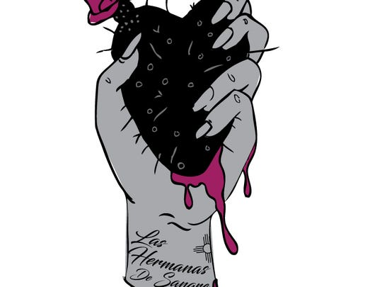 The logo for the Las Hermanas de Sangre year-long art exhibit. The exhibit explores the subjects of love, sex, nurture, growth and strength.