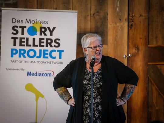 Deb Brown shares her story of raising sheep during the Des Moines Storytellers Project at the River Center on Thursday, July 12, 2018, in Des Moines.