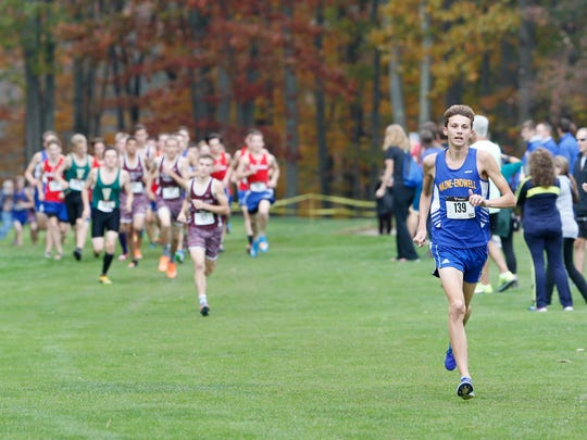 Maine-Endwell's Parker Stokes competes in the Section