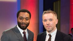 British actor, Chiwetel Ejiofor, left, with the Irish-born artist Duncan Campbell who has won this year's Turner Prize for his series of films called It for Others at Tate Britain in central London, Monday.
