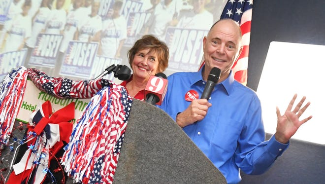 U.S. Rep. Bill Posey and his wife, Katie, thank supporters during a watch party held at the Holiday Inn in Viera on Election Day.