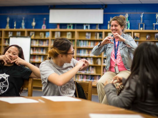 Thersa Roberts, mentor, laughs with Dream to Teach
