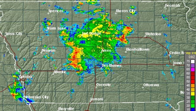 National Weather Service radar shows storms hitting central Iowa Sept. 17, 2015 around 6:45 a.m.