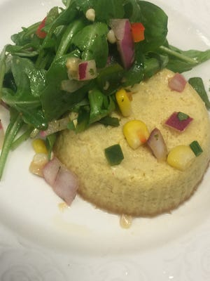 Chef Shawn Calley's spicy corn flan with arugula and corn salsa