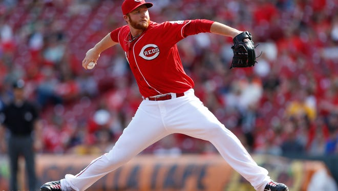 The Reds' Curtis Partch throws against the Tampa Bay Rays during the eighth inning April 13.