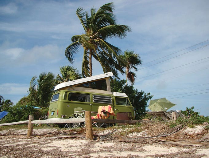 Start your retro road trip at Florida Oldscool Campers where you can rent a restored VW sleeper van. Groovy!