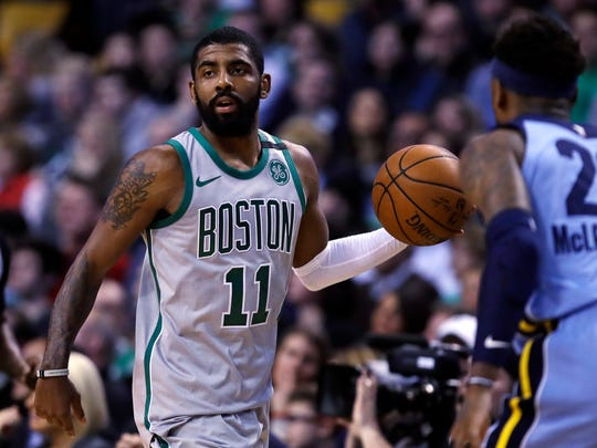 Boston Celtics guard Kyrie Irving (11) during the first quarter of an NBA basketball game in Boston, Monday, Feb. 26, 2018. (AP Photo/Charles Krupa)