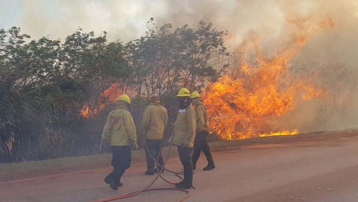 Grass fire closes road to LeoPalace Resort as dry season kicks in on Guam