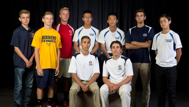 The 2016 Asbury Park Press All-Shore Boys Tennis Team of: (back row) Konrad Slabinski, Kenny Elliot, Graham Graver, Blain Liang, Charles Jiang, Sean Reilly and Justin Wain; (front row) Quinn Normoyle and Justin Pellegrino. Not pictured: Safie Moamen.