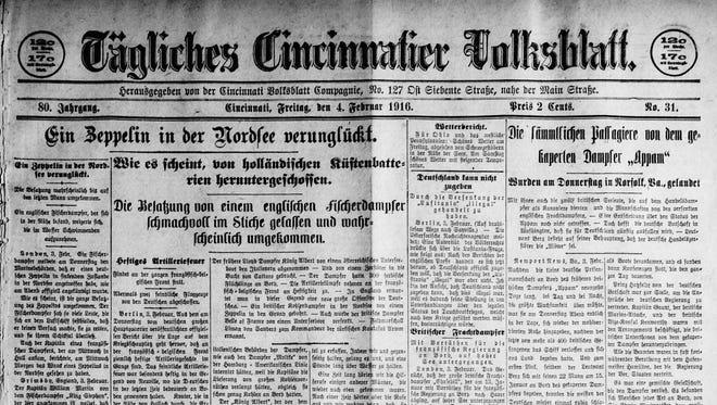 A 1916 edition of the Cincinnati Volksblatt German-language newspaper.
