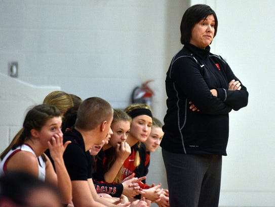 Westmoreland head coach Cherie Abner looks on along