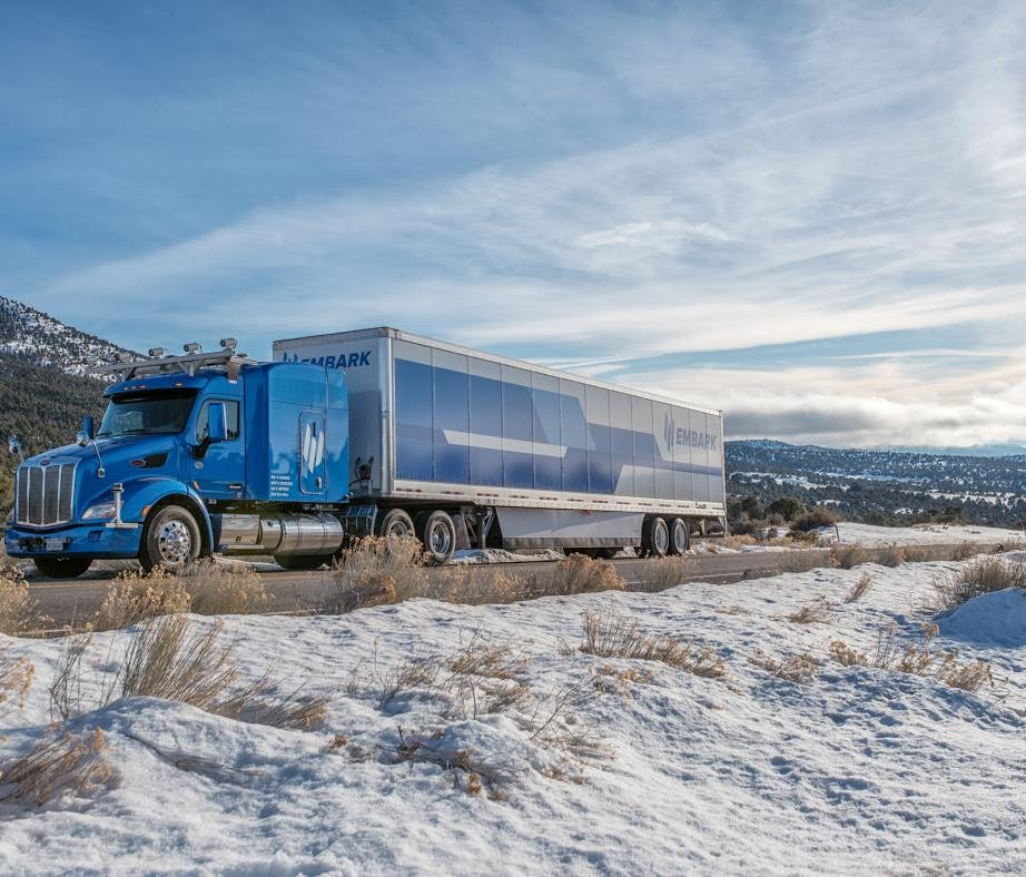 Embark is a new self-driving truck company that has begun testing its autonomous big rig in Nevada.