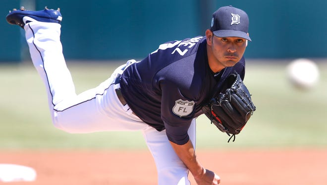 Detroit Tigers starting pitcher Anibal Sanchez throws before the first inning against the New York Mets on March 20, 2017, at Joker Marchant Stadium.