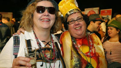 Sisters Kate (l) and Monica Donnelly of Jersey City show off festive costumes at Asbury Park Beerfest in Convention Hall Saturday.