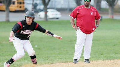 Rahway's Brad Edwards coaches third base during a game at Greenfield Park on Monday, April 11, 2016.