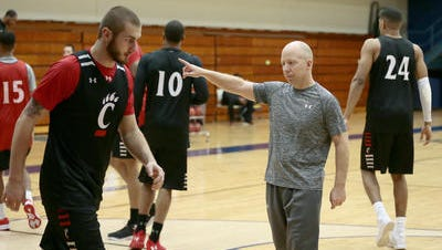 University of Cincinnati coach Mick Cronin directs his team during a practice Thursday at Trinity College in Hartford, Connecticut.