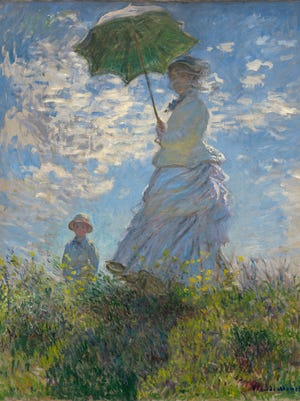 "Claude Monet's ""Woman with a Parasol - Madame Monet and Her Son,"" 1875, oil on canvas. Collection of Mr. and Mrs. Paul Mellon."