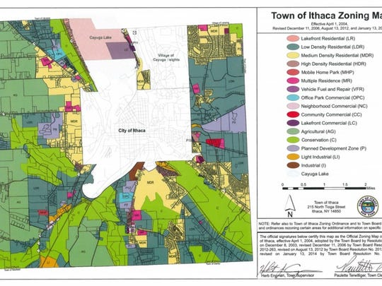 A zoning map for the Town of Ithaca. Maplewood Park Apartments is one of the few properties in the town designated as a high-density residential development zone.