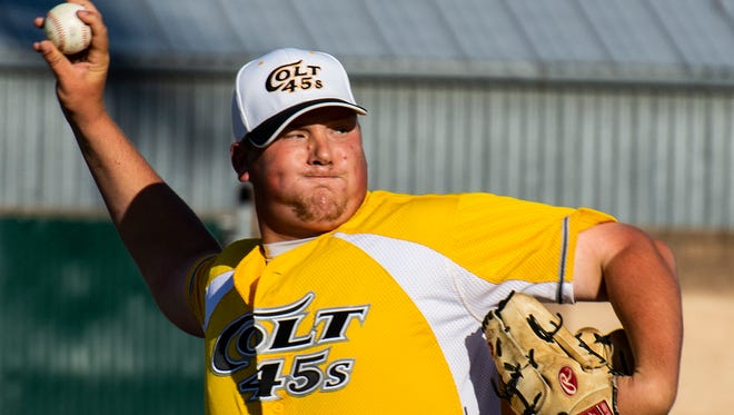 Colt 45s' starting pitcher James Humphrey delivers a strike Sunday night vs. the Seattle Studs. Redding lost the game 7-4.