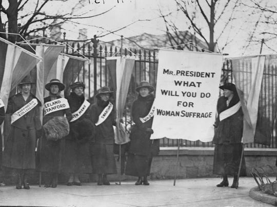 College day on the picket line in front of the White House in Feb. 1917. At this point in the picketing, protests were silent, but by November started to heat up.