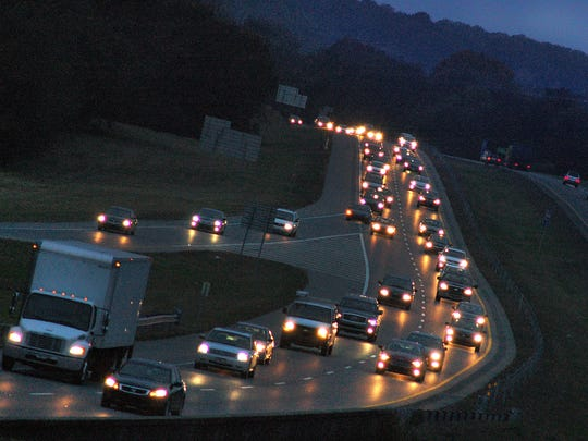 A resolution asking state officials to create a dedicated funding source for growing transportation needs, some residents and commissioners said will led to an gas tax increase. Evening rush-hour traffic creeps toward Gallatin in the eastbound lane of State Route 386 at Indian Lake Boulevard, Exit 7 in 2013.