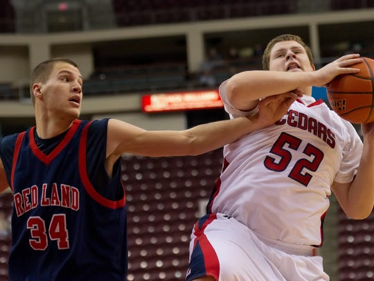 Red Land's Mike Zangari reaches for a rebound during